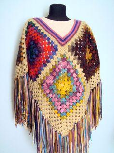 Handmade Boho Poncho Granny Square Poncho Crochet Afghan Poncho Oversized Cape  #Handmade #Poncho
