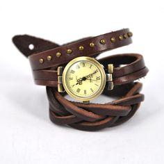 dark brown wraparound watch