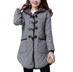MelBedy Women's Winter Plaid Thick Warm Outwear Hoodie Parkas Coat with Pockets * Tried it! Love it! Click the image. : Plus size coats