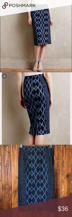 """Tracy Reese Pencil Skirt Anthropologie Alaia Denim pencil skirt by Tracy Reese.  The material is a stretch Cotten.  Waist: 29 to 32"""" Hip.  Like new, no stains, holes or snags. Anthropologie Skirts Pencil"""
