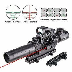 Pinty Rifle Scope Rangefinder Illuminated Reflex Sight 4 Reticle Red&Green Quick Release Red Dot Laser Sight with 14 Slots Compact High Riser Mount Tactical Rifles, Firearms, Tactical Scopes, Tactical Knives, Tactical Equipment, Air Rifle, Rifle Scope, Weapons Guns, Red Dots