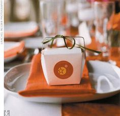 """The Favors...Conceivably, leftovers could be stored in the striking wedding favors: Chinese take-out boxes. Inside, colorful fortune cookies contained such lighthearted custom messages as """"You like cake"""" and """"If your feet don't hurt you haven't danced enough."""""""
