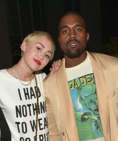 "WEST HOLLYWOOD, CA - JANUARY 22:  Recording artists Miley Cyrus (L) and Kanye West attend The DAILY FRONT ROW ""Fashion Los Angeles Awards"" Show at Sunset Tower on January 22, 2015 in West Hollywood, California.  (Photo by Charley Gallay/Getty Images for the DAILY FRONT ROW)"