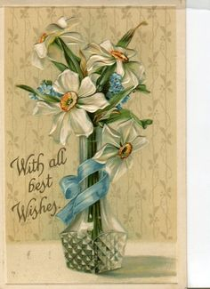 With all best wishes Vintage  Postcard by sharonfostervintage, $2.50