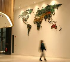 UK-based artist Susan Stockwell recently completed this gigantic world map made from recycled computer components for the University of Bedfordshire.