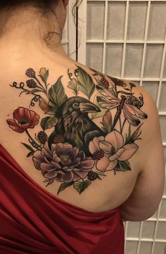 Floral Raven piece, tattoo done by Ivy Lavelle, Studio 85 Tattoo, Lebanon, Ohio