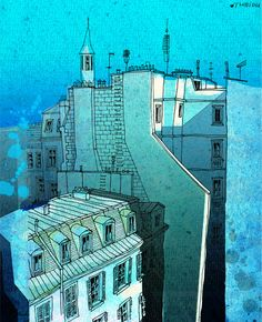 In an old house in Paris  - Paris illustration - art print - Paris art illustration - Paris decor - turquoise, blue, France, French. $20.00, via Etsy.