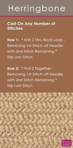 How to Knit the Herringbone Stitch with Easy, Free Knitting Pattern + Video Tutorial by Studio Knit (diy easy knitting projects stitches) Knitting Stiches, Loom Knitting, Knitting Needles, Knitting Patterns Free, Free Knitting, Crochet Patterns, Knit Stitches, Free Pattern, Cowl Patterns