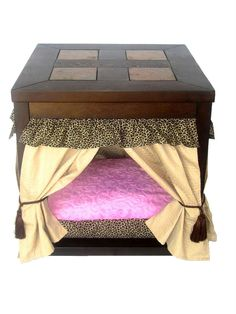 Leopard Pet Canopy Bed/ End Table by CrossBoneDog Furniture Update, Pet Furniture, Recycled Furniture, Dog Kennel End Table, Yorkshire, Custom Dog Beds, Dog House Bed, Bed End, Diy Stuffed Animals
