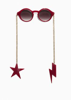 & Other Stories Chain-Link Sunglasses in Red