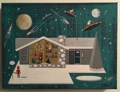 EL GATO GOMEZ PAINTING RETRO MID CENTURY MODERN RANCH HOUSE ROBOT SCI-FI ROCKET #Modernism