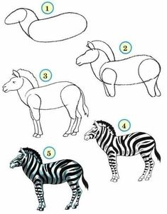 Wild animals drawing for kids how to draw wild animals for kids draw wildlife animals home Art Drawings For Kids, Drawing For Kids, Cartoon Drawings, Easy Drawings, Zebra Kunst, Zebra Art, Zebra Drawing, Painting & Drawing, Animal Sketches