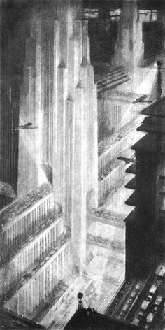 """The whole """"Gotham/Empire"""" style in architecture really took off after the conceptual work by High Ferriss. His 1929 book """"The Metropolis of Tomorrow"""" influenced the whole generation of architects, with its moody, colossal projections, destined to forever haunt the dreams of would-be dictators and power-mad superheroes."""
