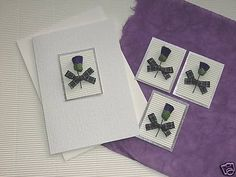 SCOTTISH THISTLE & TARTAN BOW HANDMADE CARD TOPPERS