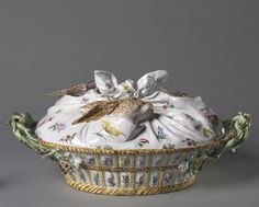 Tureen in the Form of a Basket of Game (cover), c. 1755 manufacturer Sceaux Factory (French)