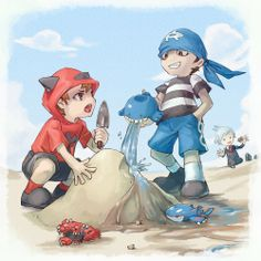 So that's how Team Magma and Team Aqua started...  Don't mind Steve, he's just collecting rocks...  http://www.pokemasters.net