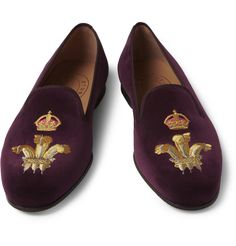 Stubbs & Wootton - Embroidered Velvet Slippers