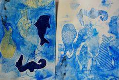 Tipy na tisk z koláže s dětmi pomocí temperových barev. — výtvarné návody a postupy na tvoření