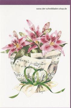 Lilien in Notenblätter gehüllt ist doch mal was anderes Lilies in sheet music - how extraordinary #Künstlerkarte #Glückwunschkarte #Papeterie #Nürnberg Der Schreibladen, Schreibwaren & Lotto-Annahmestelle – Google+