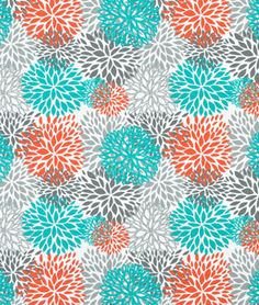 Premier Prints Outdoor Blooms Pacific Fabric in gray, turquoise / aqua blue and orange
