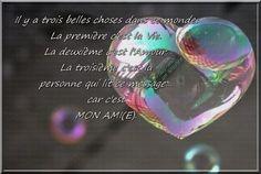 Il y a trois belles choses dans ce monde : La première c'est la Vie. La deuxième c'est l'Amour. La troisième c'est la personne qui lit ce message... car c'est MON AMI(E).