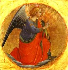 Fra Angelico - Renaissance - Perugia Triptych: Angel of the Annunciation. Fra Angelico, Italian Renaissance, Renaissance Art, Religious Icons, Religious Art, Angel Images, Catholic Art, Guardian Angels, Italian Art