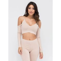 Easy Does It Crop Top NUDE ($18) ❤ liked on Polyvore featuring tops and tan