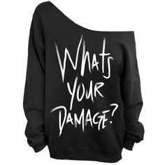 Whats Your Damage Sweatshirt Heathers Black Slouchy Oversized... ($28) ❤ liked on Polyvore featuring tops, hoodies, sweatshirts, black, women's clothing, oversized sweatshirt, slouchy tops, loose fit tops, loose fitting tops and loose tops