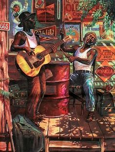 John Carroll Doyle (b.1942) — Blues Porch  (529x700)
