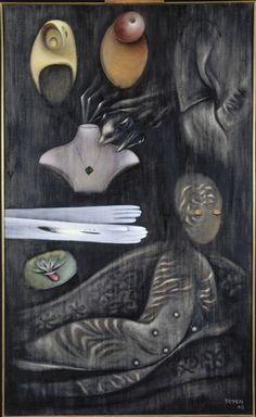"""Marie TOYEN , """"L'un dans l'autre"""", 1965 - Huile sur toile, 145 x 88 cm, Paris, Centre Pompidou, Musée national d'Art moderne / Centre de création industrielle"""