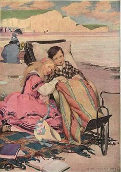 Smith, Jessie Willcox 1863-1935-Paul Dombey and Florence on the Beach