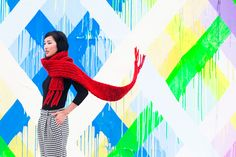 Nicole of Gary Pepper Gary Pepper Girl, Houston Murals, Nicole Warne, Girls Run The World, Crazy Colour, Red Scarves, Vogue Magazine, Couture, Color Inspiration