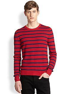 Burberry+London Midland+Striped+Silk+Sweater