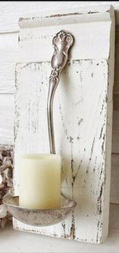 soup ladle as candle votive #shabbychicideascrafts