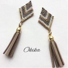 Thread Jewellery, Wire Jewelry, Beaded Jewelry, Handmade Jewelry, Brick Stitch Earrings, Seed Bead Earrings, Diy Earrings, Loom Bracelet Patterns, Bead Loom Bracelets