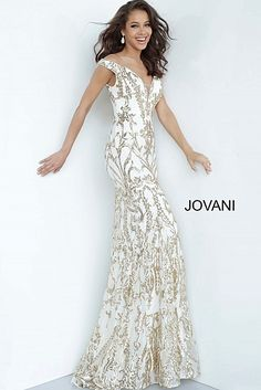 Off the Shoulder Sequin Prom Dress 63349 Sequin Prom Dresses, Jovani Dresses, Designer Prom Dresses, Mermaid Prom Dresses, Mermaid Gown, Fitted Prom Dresses, Mermaid Sequin, Ivory Dresses, Gold Formal Dress