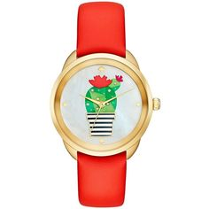 Kate Spade Cactus Crosstown Watch ($195) ❤ liked on Polyvore featuring jewelry, watches, brightly watches, kate spade, kate spade jewelry and kate spade watches