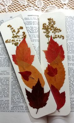 FALL FOLIAGE BOOKMARKS  Pair of 2 Autumn Leaves by MyHumbleJumble