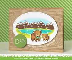 Lawn Fawn - Dad + Me, Woodgrain Backdrops, Stitched Oval Stackables, Circle Stackables _ card by Yainea for Lawn Fawn Design Team