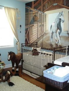 Really like this one---just add a little light green yellow! ;) Baby Nursery Room with Horse Wall Mural