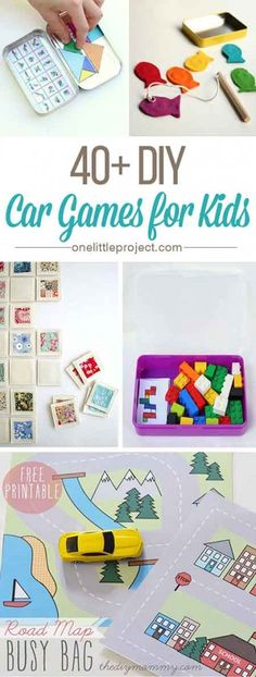 40 DIY Car Games for Kids - This list has tons of ideas, tips and inspiration t. 40 DIY Car Games for Kids - This list has tons of ideas, tips and inspiration to keep your kids busy and quiet in the car or on a plane. Car Games For Kids, Diy For Kids, Toddler Car Games, Printable Games For Kids, Road Trip Activities, Toddler Activities, Kids Travel Activities, Road Trip Games, Summer Activities