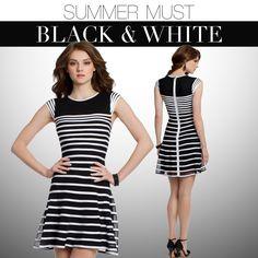 Camille La Vie black and white stripe short dresses