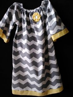Boutique Handmade Gray Chevron stripe Peasant Dress by AuntMonMons, $40.00