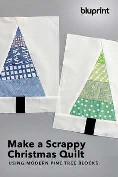 Get Scrappy With This Modern Christmas Tree Block Christmas Tree Quilted Table Runner, Christmas Tree Quilt Block Patterns, Christmas Quilting Projects, Scrap Quilt Patterns, Paper Piecing Patterns, Christmas Sewing, Pattern Blocks, Quilt Blocks Easy, Block Quilt