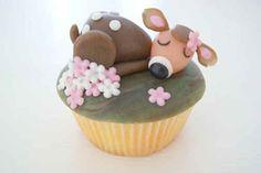 This sleeping deer.   30 Animal Cupcakes Too Cute To Eat