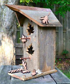 Rustic Bird House, Reclaimed Barn Wood Birdhouse, Cedar Birdhouses, Unique Bird Home Leaf Cutout, Birdhouse Designs, Bird House Kits, Bird Aviary, Bird Houses Diy, Copper Roof, How To Attract Birds, Kinds Of Birds, Reclaimed Barn Wood