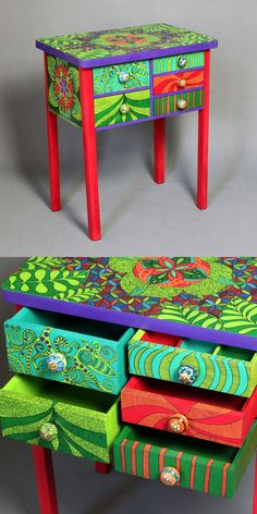 Hand-painted chest of drawers Kaleidoscope
