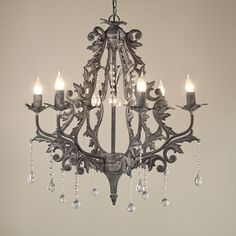 This Vintage Gray Damask Silhouette Chandelier is yet another way to bring light (and romance) into french industrial chic kitchen. I can see my breakfast table blushing. Vintage Chandelier, Chandelier Ideas, Neutral Bedrooms, Gray Bedroom, Master Bedroom, Bedroom Decor, Industrial Chic Kitchen, French Industrial