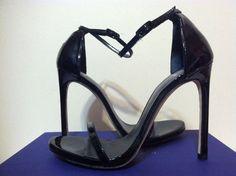Stuart Weitzman Nudist Black Patent Leather Women's Heels Sandals Size 8.5 M #StuartWeitzman #FashionHeelsAnkleStrapSandals