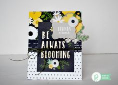 Garden Cards by Wendy Sue Anderson for Pebbles Inc - such a pretty color combination featuring white, black and pops of yellow and green on this handmade card.